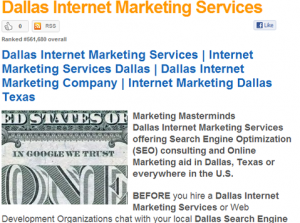 Dallas Internet Marketing Company guilty of Keyword Stuffing