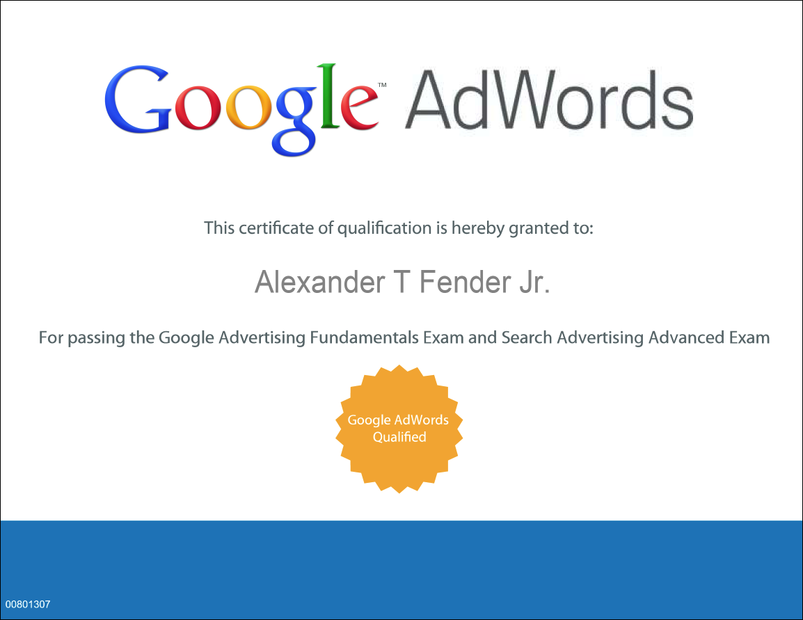 Alex Fender Google Adwords Search Advertising Certified